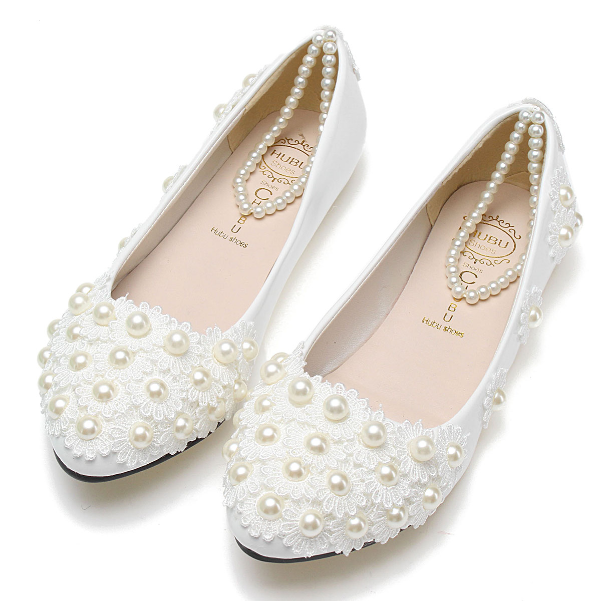 Handmade Wedding Shoes Women Lace Princess Ankle Strap Flats Mujer Zapatos White Flat Flower Pearl Bridesmaid Bridal Shoes<br><br>Aliexpress