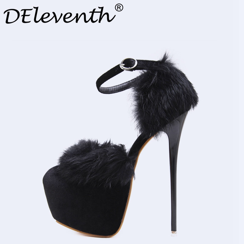 Sexy Pumps women 2017 summer Fur Buckle Strap Pumps Round Toe Fetish High Heels Shoes Night Club Party shoes Sapato feminino <br>