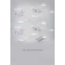 photo studio props baby background photography birthday backdrops simple childlike airplanes clouds for photos  S-1206