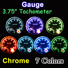 "95mm 3.75 Inch Tachometer Chrome for 7 LED Colors Adjustable 12V Car Gauge 3 3/4"" Meter 0-8000 RPM TAC Shift-Light FREE SHIPPING"