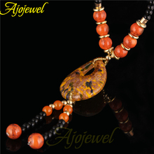 Ajojewel Brand New Yellow Lampwork Glass Jewelry Vintage Necklace Accessories For Women(China)