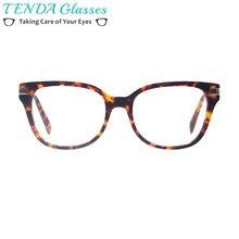 Mulheres Óculos Da Moda Óculos de Acetato de Armações de óculos de Aro  Cheio de Prescrição Praça Com Dobradiça de Mola Para . f2bdea71e1