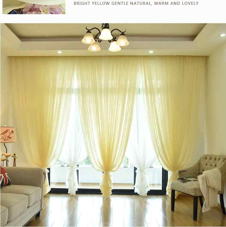 XinHuaEase Solid Color Tulle Curtain for Windows Modern Voile Curtains for Door Cafe White Yellow Blue 8 Color Fabric Finished
