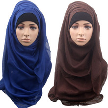 Fashion new women headband hijab big size bandanas solid color scarf  shawls soft muslim islamic scarves