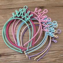 Spring Colors ABS Plastic Material Crown Girls Headbands Tiaras Head Band Princess Children Hair Accessories Mix 12pcs/lot