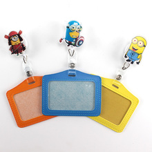 Horizontal type Retractable Reel Cartoon Acrylic Credit Card Holders Bank Card Work Card Bus ID Holder Badge Lanyard PY029