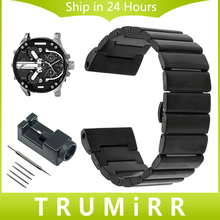26mm Stainless Steel Watch Band + Link Remover for Diesel Men Women DZMC0001 Wrist Strap Butterfly Buckle Bracelet Black Silver