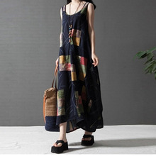 Buy BBYES Summer Women Crew Neck Dress Ladies Sleeveless Printed Loose Long Maxi Dress Vintage Boho Style Long Dress Plus Size for $12.50 in AliExpress store