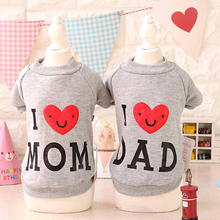 Mom And Dad Dog Clothes Pet Accessories Cotton Cute Couples Dress Teddy Perros Sweater Dogs Pets Clothing For Small Dogs(China)