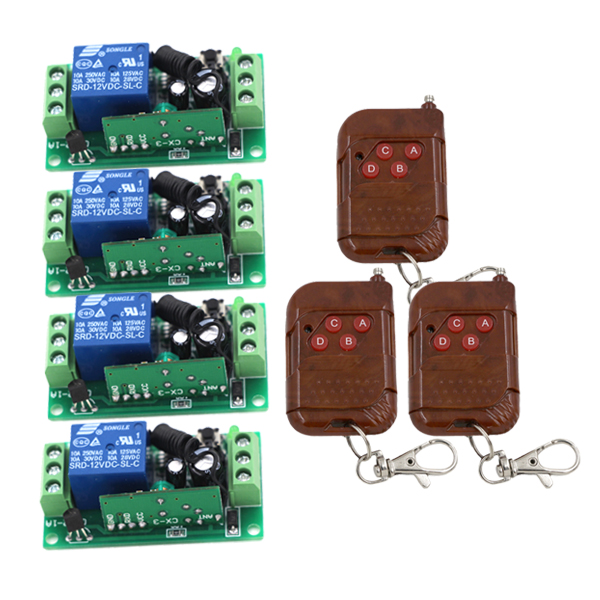 Hot Sales DC 12V 10A 1CH 315MHZ Wireless RF Remote Control Switch 3 Transmitter + 4 Receiver  New Free Shipping 3413<br>