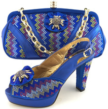 ME6611 Italian shoe and matching bag in blue color for woman wedding with nice hand bag african shoe and bag set height 10cm