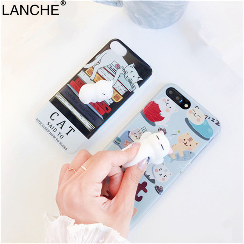 LANCHE iPhone 8 8Plus Case 3D Cute Soft Silicone IMD Case Pappy Squishy Cat Funny Toy Phone Cover Protect Phone Cases