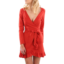 YJSFG HOUSE Sexy Women Deep V-neck Short Party Dress With Belt Red Slim Fit Long Sleeve Ruffles Dress Casual Ladies Tunic Dress