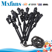 Mxfans 10PCS Black HO 1/87 Scale train layout model lamppost Double Heads Tower shape