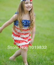 American Independence Memorial'S Day Dress,Baby Girl 4th Of July Lace Petti Dress,Patriotic Ruffle Dress For Girl Of 4 Years Old