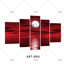 sun sea landscape 5 Panel Pictures Sets HandPainted Abstract Oil Painting Home Decor Wall Art Modern landscape oil Paintings(China)