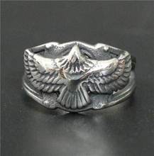 Drop Shipping Fashion Live To Free Flying Eagle Biker Ring 316L Stainless Steel Jewelry Cool Men Women Silver Biker Eagle Ring(China)