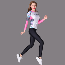 Women Sport Rash Guards Surfting Wear Long Sleeve Surf Shirt Patchwork Diving Wetsuit Swim Board Shorts Quick Dry Swimwear 2017