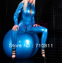 Buy Sexy latex handmade suit latex bodysuits nature rubber catsuit back zipper