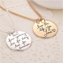 "2015 New Fashion Jewelry ""Learn From Yesterday,Live For Today, Hope For Tomorrow"" Letter Pendant Necklace Gift"