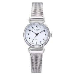 Часы женские кварцевые голубые с сетчатым браслетом из нержавеющей стали