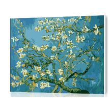 Diy digital oil painting by numbers pictures the wall hand painted canvas paint artwork branches of an almond tree in blossom
