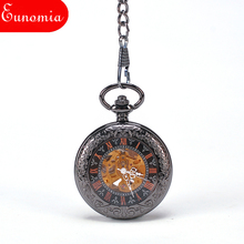 Black Men Mechanical Pocket Watch With Key Chain Vintage Automatic Self - Wind Antique Fashion Transparent Necklace Suits Watch(China)