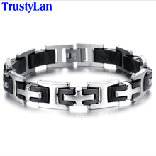 TrustyLan Classic Cross Mens Bracelets Stainless Steel Silicone Bracelet Men Band Male Jewelry Accessories Men's Bangles 2017