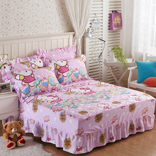 100%Cotton cartoon quilted bedding set bed sheet pillowcase pink hello kitty printing twin full queen king size bedspread Skirt