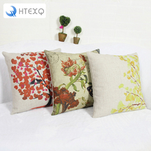 Flowers Linen Printing Sofa Cushion Cover Decorative Hotel Show Pillow Case Wholesale Price Discount 18*18inch