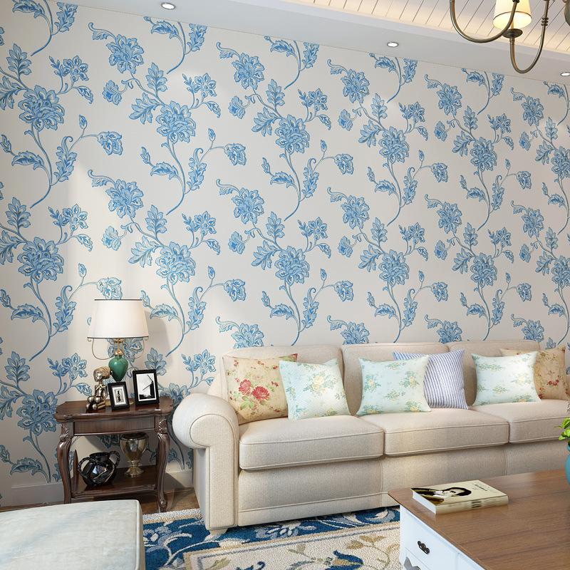 beibehang Non woven warm pastoral style wallpaper 3D relief big flower bedroom paper full shop living room TV background wall<br>
