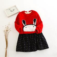 2018 Girls Plus Cashmere Long Sleeve Dress Cute Rabbit Dots Printed Girl Clothes Winter Warm Baby Girl Dresses Princess(China)