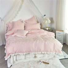 2018 Gray pink blue Bedding Sets Luxury 4/6pcs pillowcase Embroidery Bed Skirt Duvet Cover Bedspread Bedclothes Bed Linen(China)