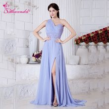 Alexzendra Light Blue Chiffon A Line Prom Dresses One Shoulder Unique Back  Party Dress Evening Dresses Plus Size 2d53ff4e3620