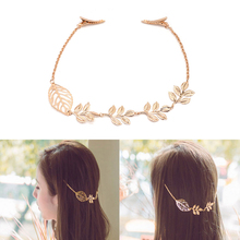 Women Lady Fashion Rhinestone Chain Headband Hair Band Leaf Hair Clip Jewelry