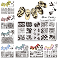 BORN PRETTY 12*6cm Rectangle Stamp Template Nail Plates Christmas Halloween Floral Manicure Nail Art Image Plate BPX-L001-L012