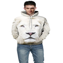 Cute White Lion Coat Fashion New 3D Printing Hoodies Hedging European Style Male / Female Models Loose Cute White Lion Hoodies