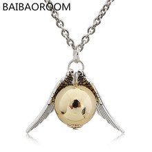 Real Hot Sale Vintage Unisex Chains Necklaces Collares Quidditch Necklace The Golden Snitch Pendent 0125(China)