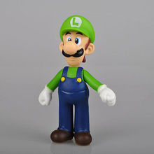 "New Super Mario Bros 5"" LUIGI Mario Action Figure Toy Green Hat mm Fashion toys for kids(China)"