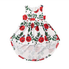 Fashion Toddler Girls back long front short dresses Baby Girls Kid Party Floral Rose Sundress Summer Dresses Clothes(China)