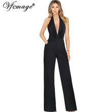 Buy Vfemage Womens Sexy Backless Halter Deep Plunge V Neck Pockets Wide Leg Formal Evening Party Club Overalls Rompers Jumpsuits 028