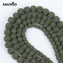SAUVOO 1 String/Lot Green Round Natural Lava Stone Loose Spacer Beads 8/9/10/11 mm for DIY Jewelry Making Findings Accessories(China)