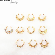SINSHI New Fashion Light Yellow Gold Color Alloy Fake Nose Rings For Women Crystal Punk Hoop Nose Rings And Studs Body Jewelry