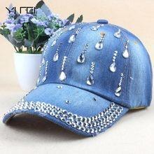 Brand New Denim Hats Fashion Leisure Woman Cap With Water Drop Rhinestones  Vintage Jean Cotton Baseball Caps For Men Hot Sale b9e0e40a3d33