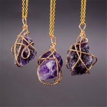 SEDmart Handmade Irregular   Wire Wrapped Pendant Necklace Women Natural Stone Crystal Quartz Fluorite Necklaces