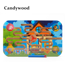 Wooden Toys Magnetic Maze Board Early childhood educational Toys Maze Game P small pen labyrinth(China)
