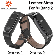 Adjustable Xiaomi Mi Band 2 Leather Strap with Metal Frame for MiBand 2 Version Smart Bracelet Xiao Mi Band Accessories 4 Colors(China)