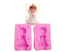 Boy & Girl Angel Silicone Candle Mold Resin Clay Soap Molds Baby Party Fondant Cake Decorating Tools Chocolate Candy Mould(China)