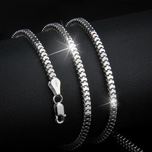 2.4mm Width Solid 925 Silver Necklace, Sterling Silver Square Snake Chain Necklace, Choker Necklace