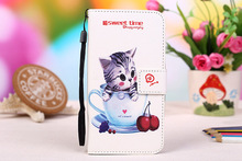 Cartoon Painting Stand Wallet Leather Cover For Micromax Canvas Power 2 Q392 Case With Card Slots+Lanyard gift